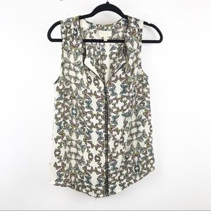 ModCloth butterfly printed sleeveless blouse